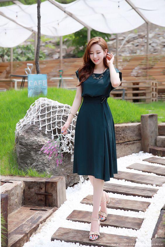 belted flared dress for summer