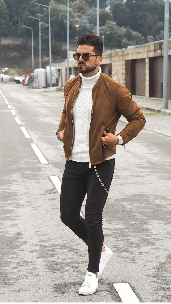 casual masculine outfits with bomber jacket