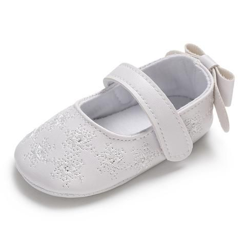 leather flower infants shoes for baby girl