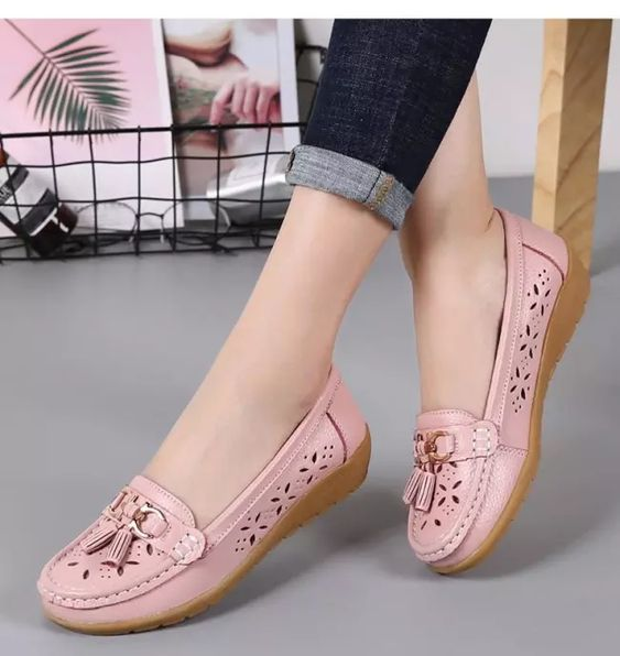 leather summer flat shoes for women's footwear
