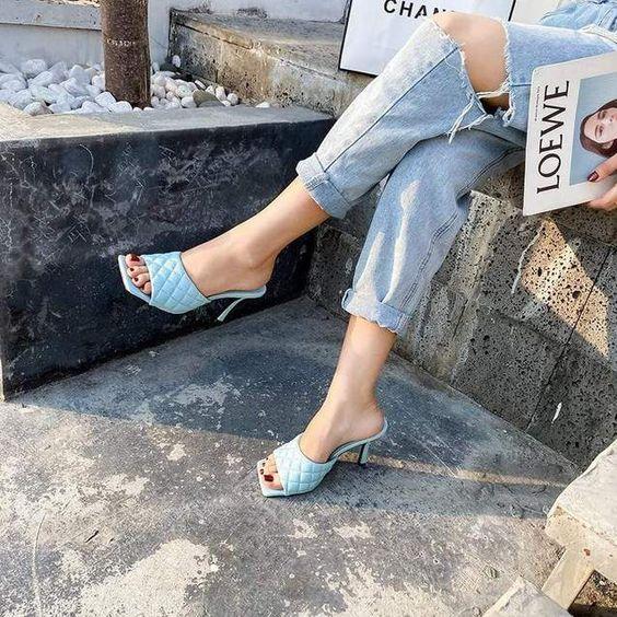 blue high heels slipper sandals for summer footwear