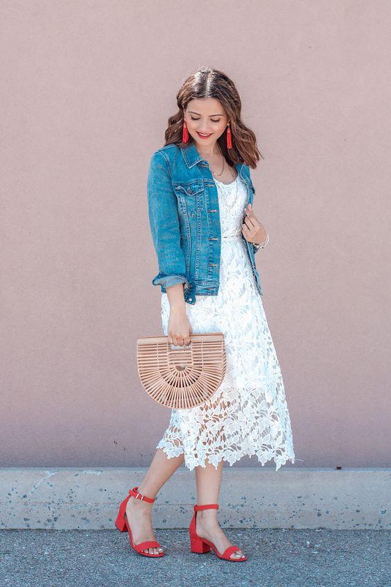 lace dress and denim jacket