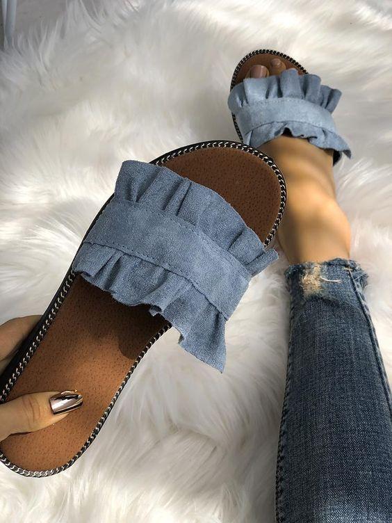 women's footwear ruffle summer slipper