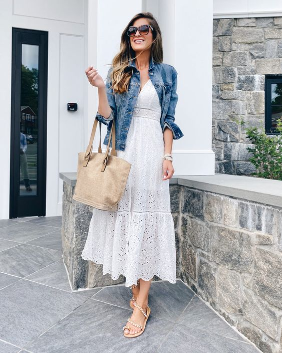 classy white button-front dress for summer