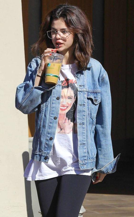 Selena Gomez wearing denim jacket
