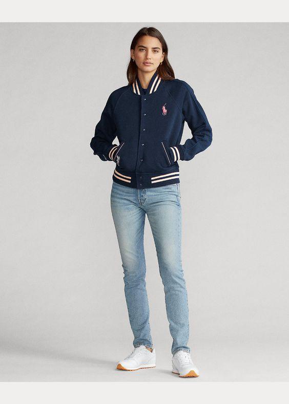 trendy baseball fleece jacket
