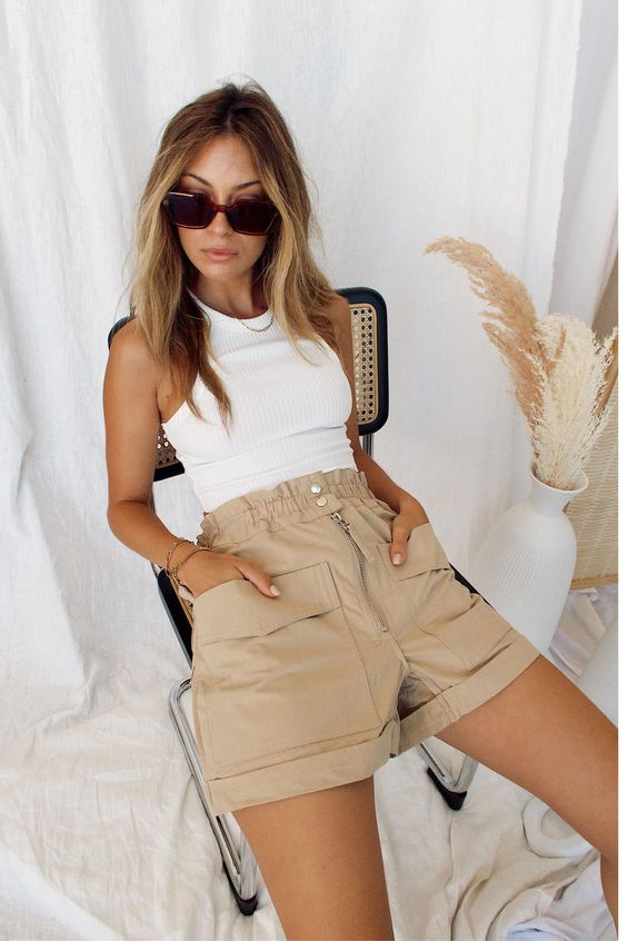 buckle down Khaki shorts with white tops