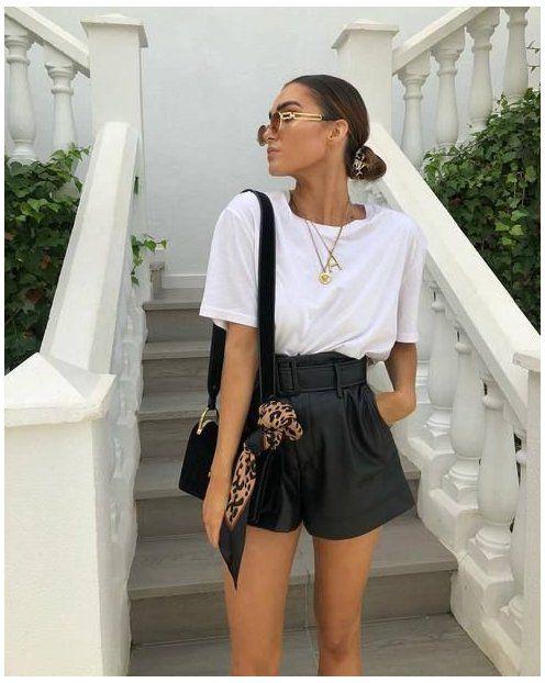summer leather black shorts