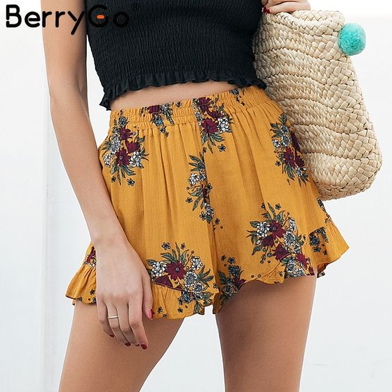 floral-printed shorts for summer vacation