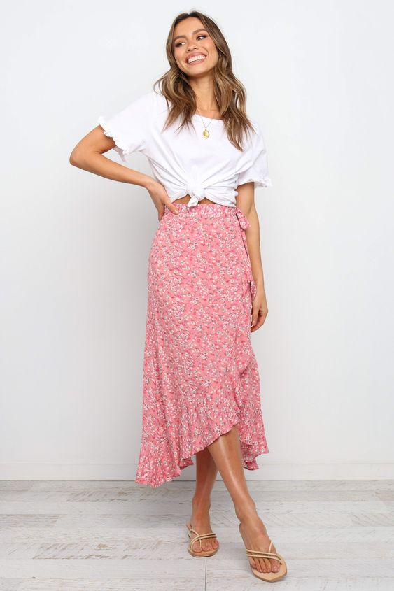 floral midi skirt for spring
