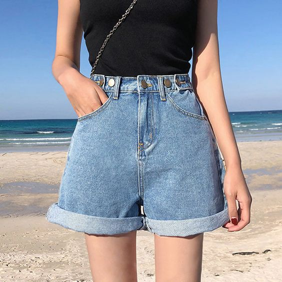 high-waisted denim jeans with top