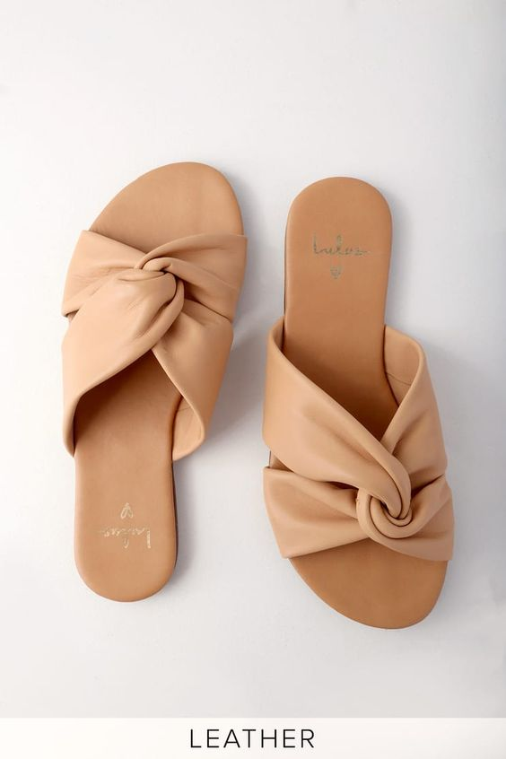 leather slide sandals for a tropical outfit