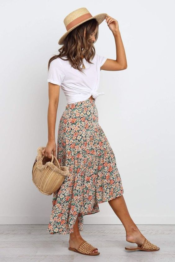 maxi skirt and white tee summer outfit ideas