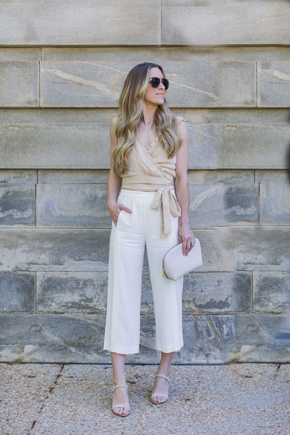 neutral blouse for spring outfit idea