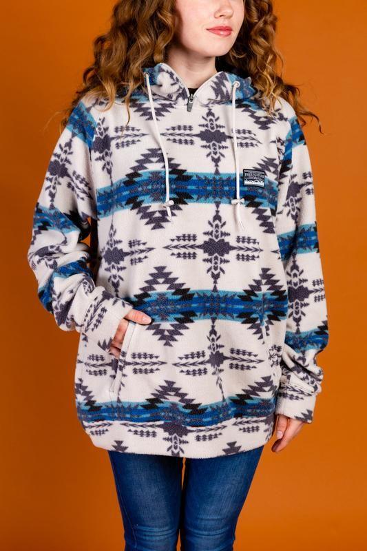 printed fleece hoodie