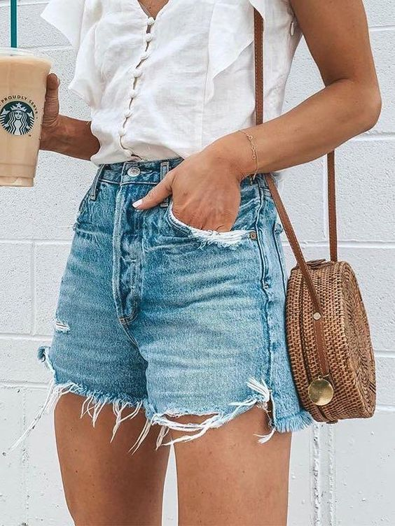 ripped fringed jean shorts for summer