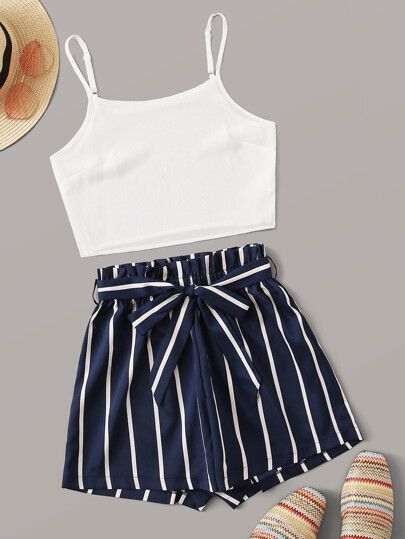 solid cami top and striped short for summer outfit ideas