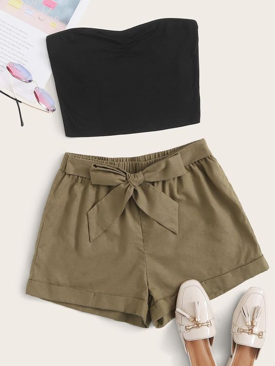styling linen shorts and black tube top