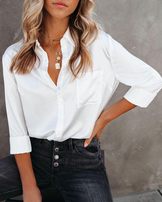 essential basic checklist white button-down blouse