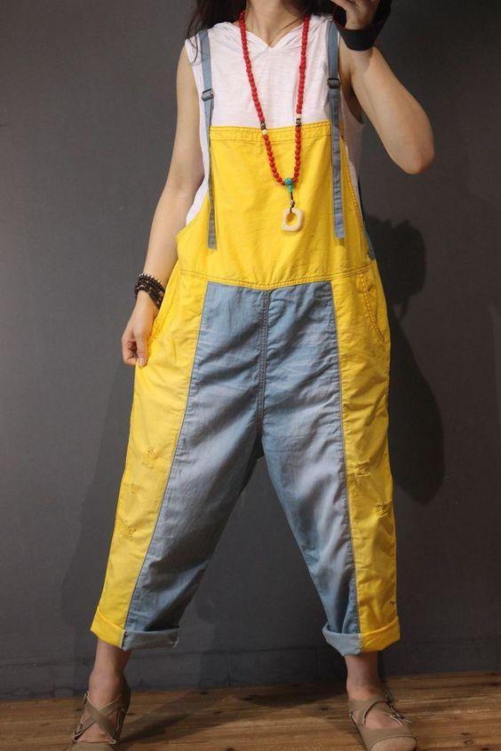 cozy color block jumpsuit with cotton material