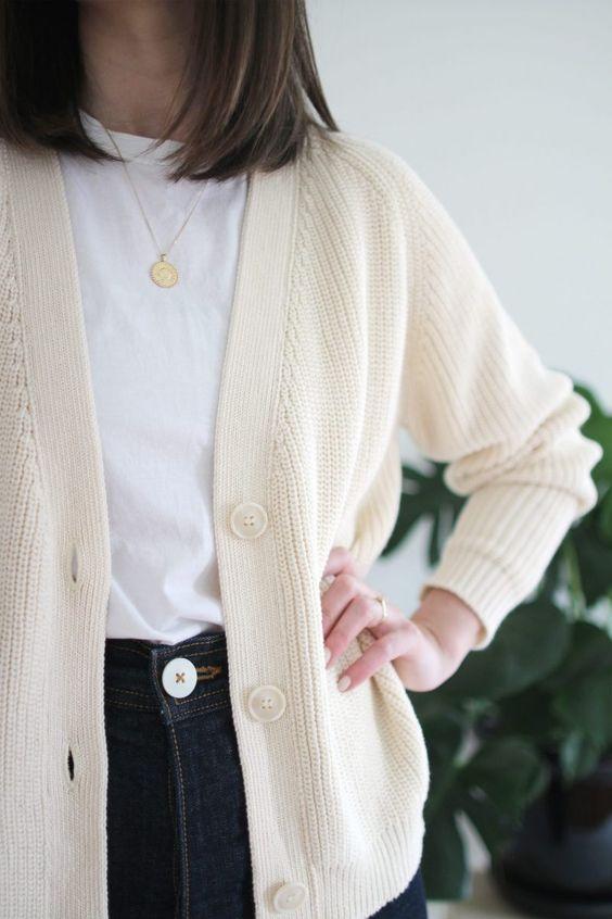 cotton cardigan for spring capsule wardrobe