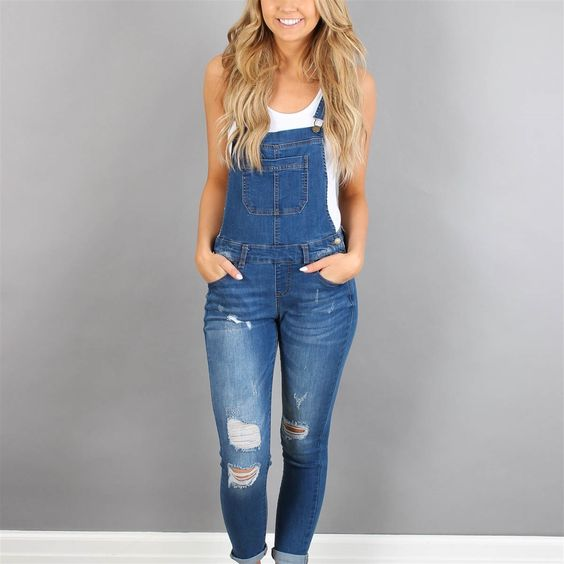distressed overall with neutral tank top
