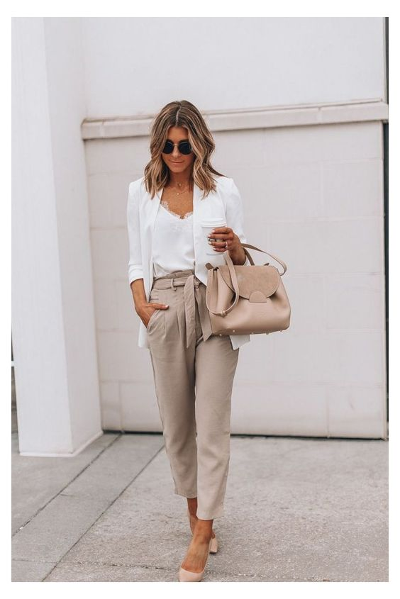 earthy color office outfits in spring