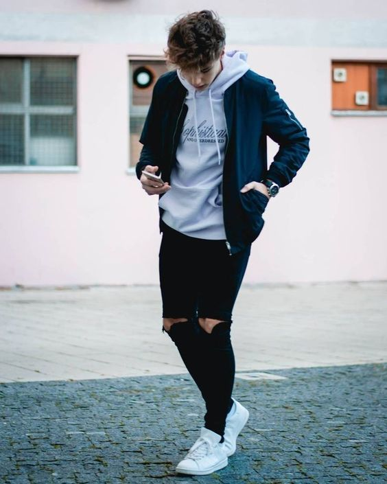 hoodie and ripped jeans
