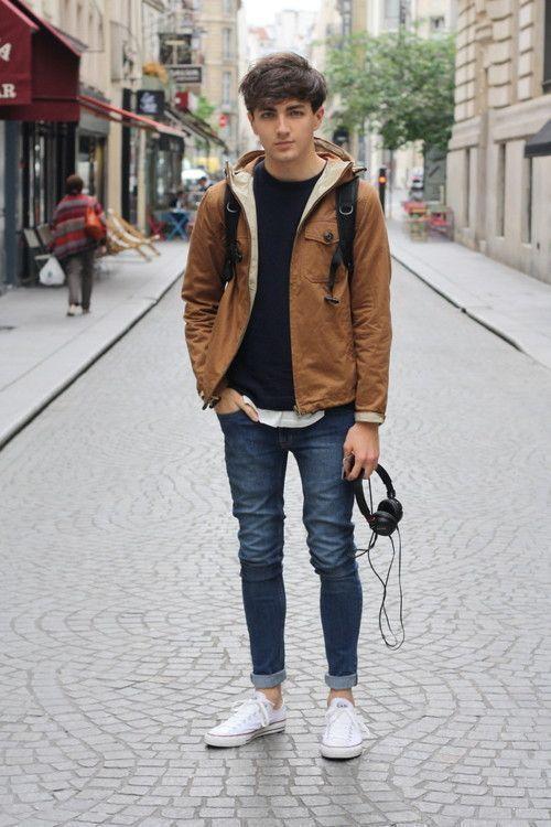 corduroy jacket and casual tee