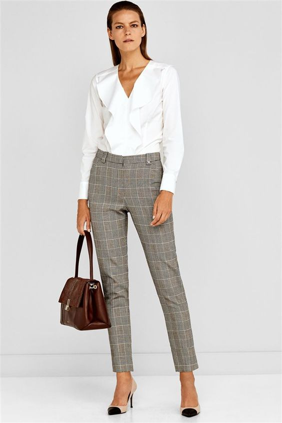 plaid pants and blouse for women workwear