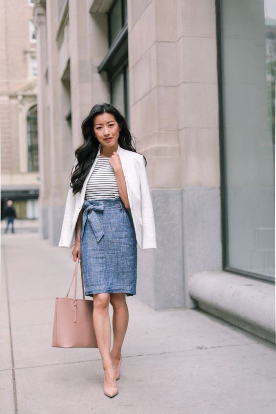 skirt and plaid shirt for spring workwear