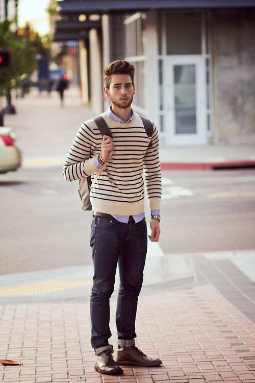 stripped sweatshirt and jeans