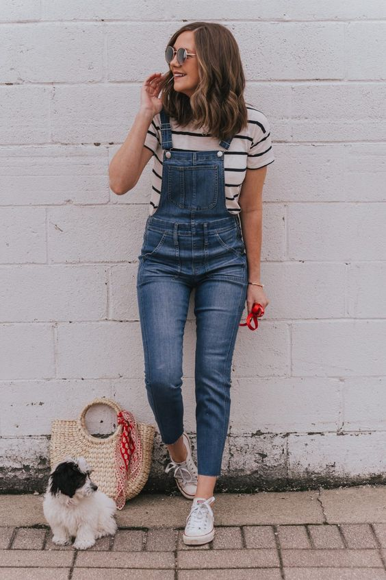 Striped tee with overall