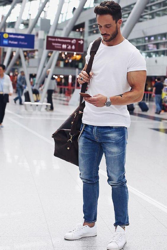 white tee in men's basic wardrobe