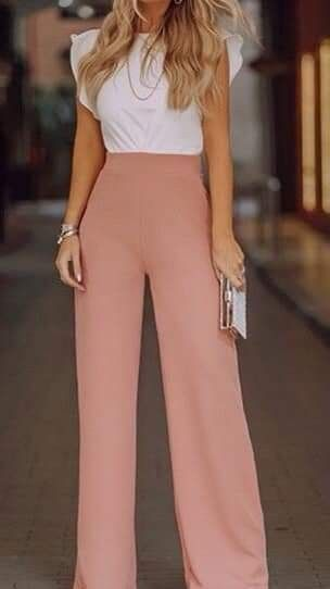 neutral blouse and wide leg pants spring workwear