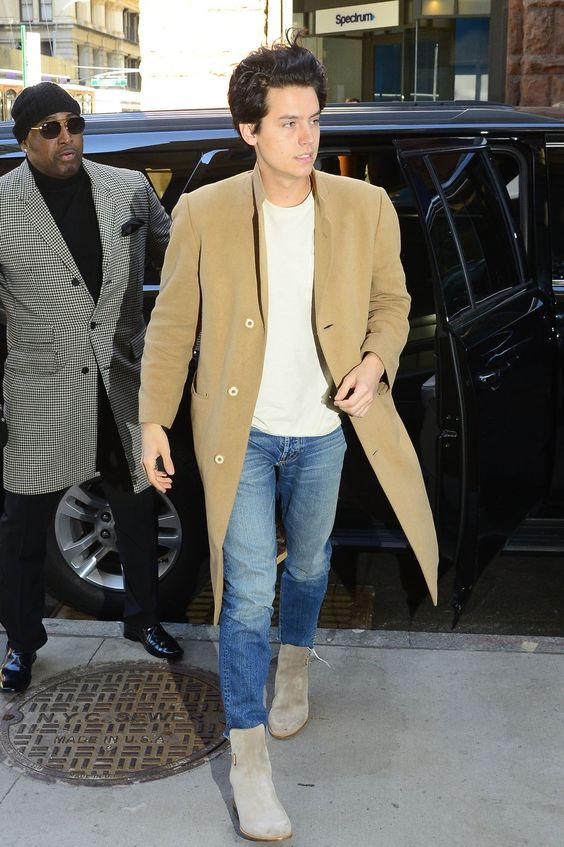 cole sprouse neutral color tone outfit