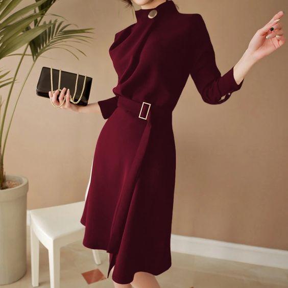 elegant belted split dress for business work