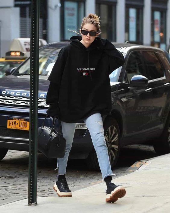 Gigi Hadid street style with oversized hoodie