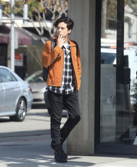 Cole Sprouse street style look with corduroy jacket