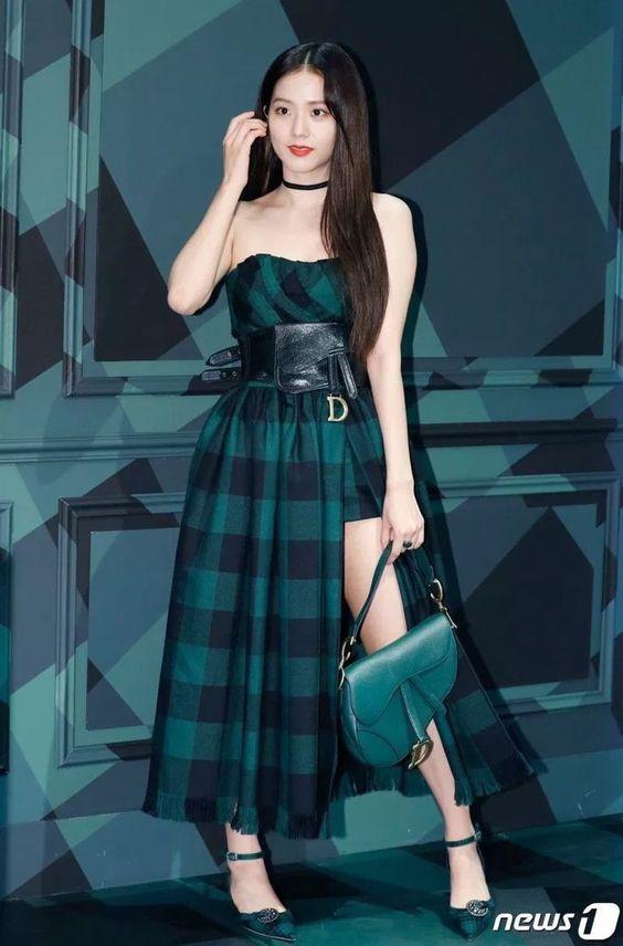Jisoo in plaid Dior dress