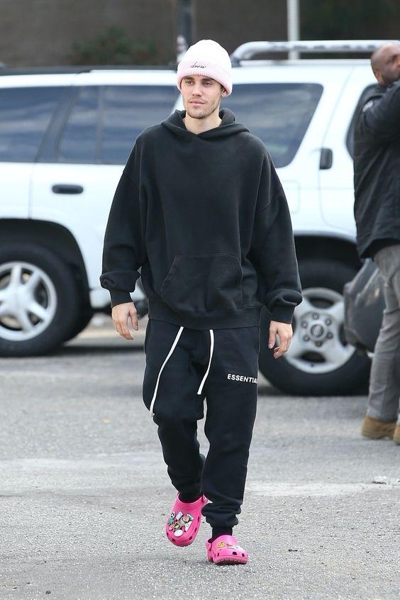 Justin Bieber on Black hoodie