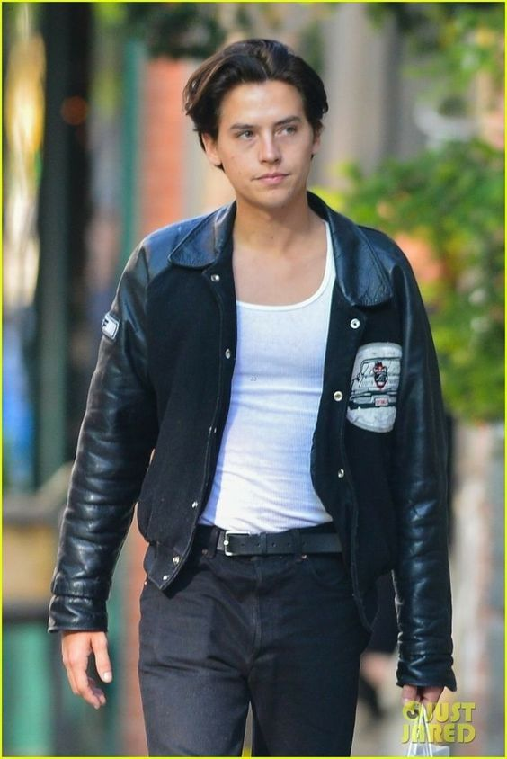 cole sprouse styling leather jacket