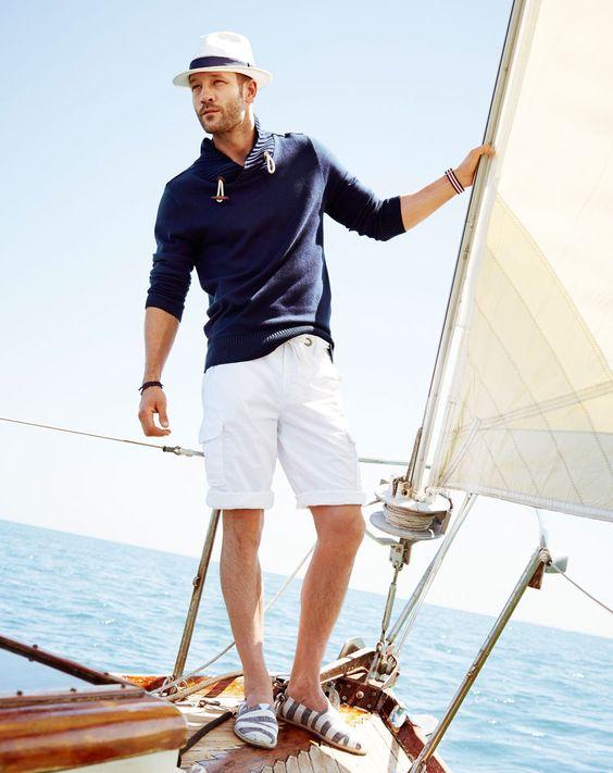 nautical look by wearing navy sweatshirt