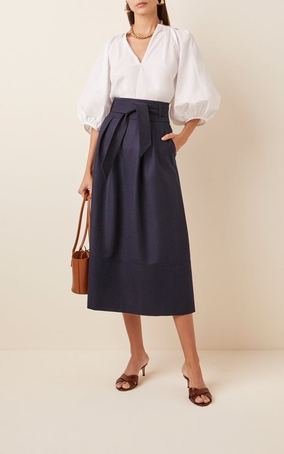 neutral a line skirt for casual business women