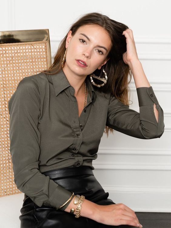 solid button-down shirt for women