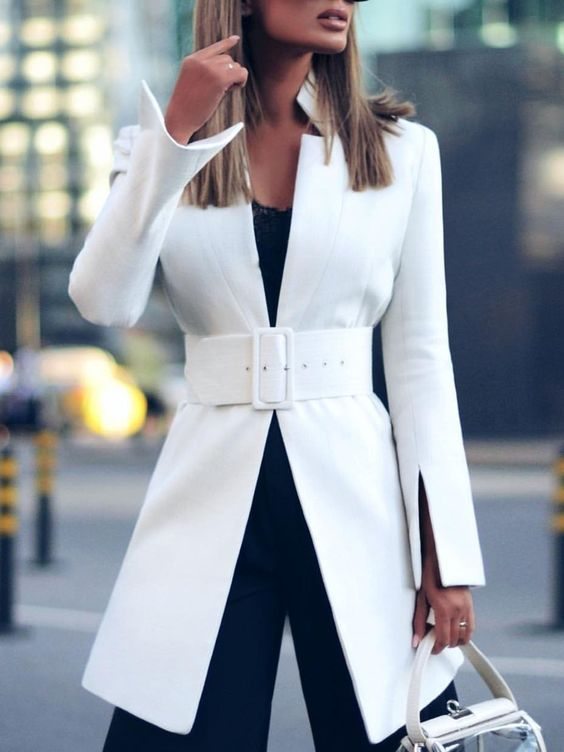 neutral solid sheath long sleeve outerwear