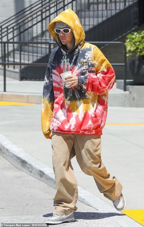 Justin Bieber wearing tie-dye outfit