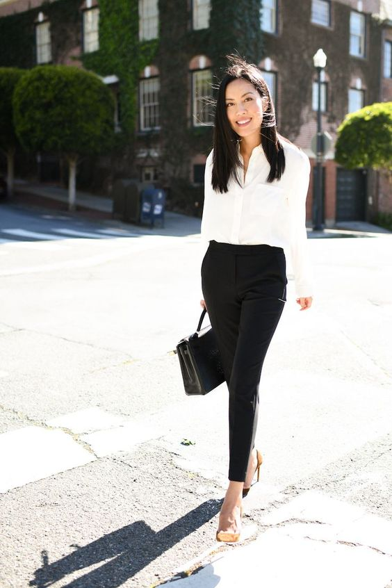 black trouser for casual business outfit idea