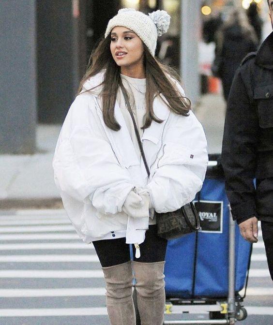 Ariana Grande winter fashion look