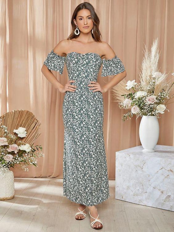 off-shoulder floral sleeve dress